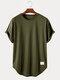Sport Mens Letter Print Fitness High-LowCurved Hem Short Sleeve T-Shirt - Dark Green