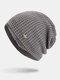 पुरुषों की शीतकालीन Plus मखमली प्लेड पैटर्न आउटडोर लंबी बुना हुआ गर्म बेनी टोपी - धूसर