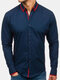 Casual Stitching Buttons Comfy Tops Long Sleeve Slim Shirt For Men - Navy