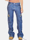 Solid Color Pockets Zipper Casual Jeans For Women - Navy