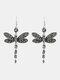 Vintage Colored Dragonfly Women Earrings Diamond Mount Pendant Earrings - Grey