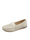 Retro Hollow Breathable Flats Non-slip Slip On Casual Loafers Shoes - Beige