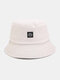 Women & Men Smile Embroidery Pattern All-match Outdoor Casual Sunshade Bucket Hat - Beige
