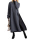 Solid Color Splited Long Sleeve O-neck Casual Dress For Women - Dark Gray
