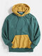 Mens Contrast Patchwork Casual Relaxed Fit Kangaroo Pocket Drawstring Hoodies - Green