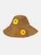 Women Wide Brim Summer Beach Holiday Daisy Printing Sunshade Straw Hat Bucket Hat - Khaki