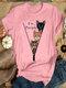 Casual Cartoon Cat Printed O-neck Short Sleeve T-shirt - Pink