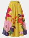 Calico Print Elastic High Waist Pocket Vintage Skirt For Women - Yellow