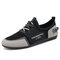 Men Casual Lace-up Suede Letter Pattern Hard Wearing Driving Shoes - Black Gray