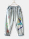 Embroidery Print Elastic Waist Casual Jeans For Women - Light Blue
