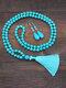 2 Pcs Bohemian Turquoise Women Jewelry Set Tassel Beaded Necklace Sweater Chain Pendant Earrings - #03