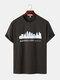 Mens Kansas Building Print Casual Short Sleeve 100% Cotton T-Shirts - Coffee