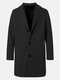 Mens Solid Color Single-Breasted Casual Loose Fit Mid-Length Overcoat - Black