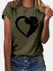 Dog Print Short Sleeve Casual O-neck T-shirt For Women - Army Green