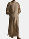 Mens Cotton Solid Color Kaftan Vintage Loose V-Neck Split Long Dress Casual Robes - Khaki