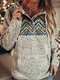 Ethnic Print Patchwork Button Long Sleeve Hoodie For Women - Blue