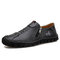 Men Handmade Stitching Cowhide Soft Wearable Sole Business Casual Leather Shoes - Black