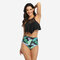 Solid Ruffled Top and Leaf Print Bottom Swimwear for Mommy and Me (Without headdress) - Mother
