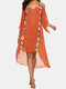 Embroidery Crochet Hollow Out Plus Size Beaches Holiday Blouse Dress - Orange
