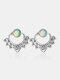 Vintage Synthetic Opal Flowers Earrings Front-Rear Combination Dual-Use Earrings - Silver