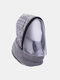 Men & Women Detachable Keep Warm Dustproof Zipper Neck Protection Knitted Face Mask Scarf - Gray