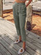 Casual Solid Color Button Pants With Pocket - Light Grey