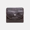 Women Genuine Leather Coin 8 Card Slots Bifold Wallet Purse - Coffee
