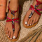 Women Snake Pattern Comfy Buckle Strap Clip Toe Beach Sandals - Red