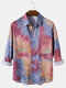 Mens Tie-Dye Print Lapel Collar Casual Long Sleeve Shirts With Pocket - Red