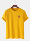 Mens 100% Cotton Strawberry Printed Round Neck Casual Short Sleeve T-shirts - Yellow