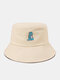 Unisex Cotton Solid Color Cartoon Little Dinosaur Embroidery All-match Sun Protection Bucket Hat - Beige