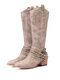 Women Pointed Toe Chunky Heel Hollow Out Quilting Retro Elegant Mid-Calf Cowboy Boots - Brown