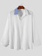 Plus Size Mens Contrast Collar Button Up Casual Long Sleeve Shirts - White
