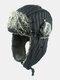 メンズストライプパターン防寒冬用トラッパーハット厚手の冬用ハット耳保護トラッパーハット - 黒