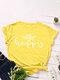 Bee Letters Loose O-neck Short Sleeve T-Shirt For Women - Yellow