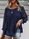 Solid Long Sleeve O-neck Loose Blouse for Women - Navy