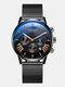 11 Colors Men Business Watch Leather Alloy Mesh Band Calendar Luminous Quartz Watch - #02
