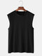 Mens 100% Cotton Breathable Solid Color Casual Tank Tops - Black