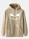 Mens Halloween Grimace Print Solid Pullover Hoodies With Kangaroo Pocket - Apricot