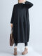 Solid Color Half-collar Pockets Long Sleeves Causal Dress for Women - Black