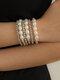 Vintage Brief Geometric Round Bead Shape CCB Artificial Pearls Bracelets Set - Silver