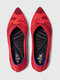Women Comfy Brathable Knitted Printing Pointed Toe Ballet Shoes Slip On Flats - Red