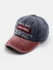 Men Made-old Denim Letter Embroidery Patchwork Casual Sport Sunshade Baseball Hat - Navy