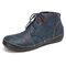 SOCOFY Old Peking Solid Color Splicing Block Stitching Lace Up Soft Flat Boots - Dark Blue
