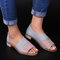 Women Large Size Retro Color Splicing Side Open Flat Slide Sandals