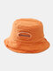 Unisex Cotton Solid Color Broken Hole Letter Embroidery Cloth Label All-match Sunscreen Bucket Hat - Orange