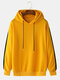 Mens Cool Solid Color Side Striped Printed Drawstring Hoodies - Yellow