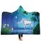 150x200cm 3D Printing Plush Hooded Blanket Flannel Quilt With Hat Wearable Clothes - #5