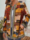 Vintage Print Webbing Patchwork Long Sleeve Plus Size Jackets - Yellow