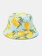 Unisex Cotton Lemon Leaf Pattern Printed Double-sided Wearable Fashion Bucket Hat - Light Blue